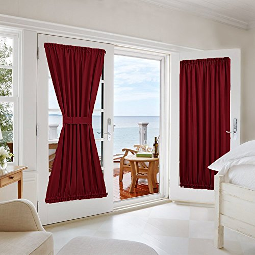 French Door Curtains Blackout Drapes - NICETOWN Functional Thermal Insulated Blackout Curtain Panels for Doors - Two Panels 54W by 72L Inches - Burgundy (Furniture Garden Rustic Old)