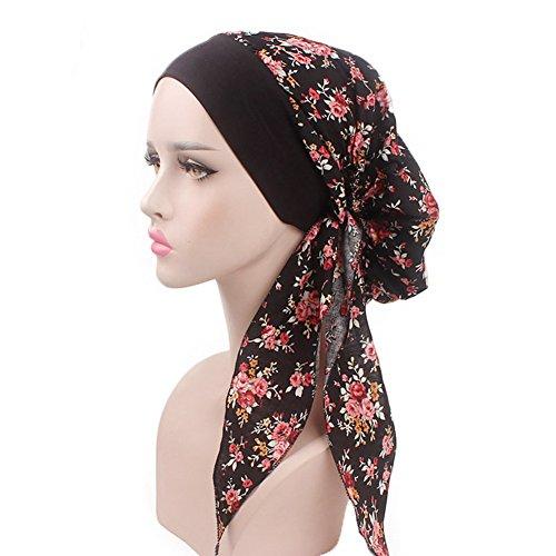 - Vintage Women Elastic Wide Band Head Scarf Cotton Turbans Print Bonnet Multifunction Night Sleep Hat Chemo Hair Loss Wrap Cap (Black)