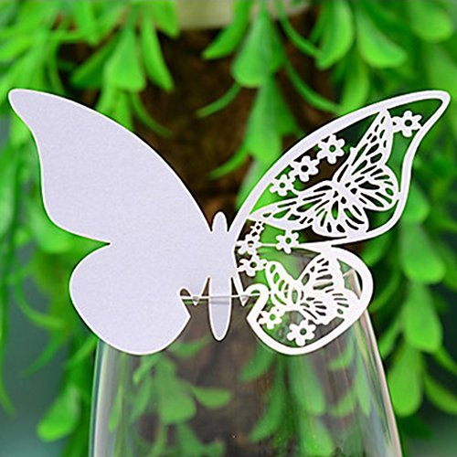 100 White Butterfly Name Place Card for Party Wedding Champagne / Wine Glass or Table Number Decoration DDSL