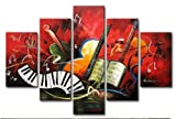 Hand-painted Artwork the Music Score High Q. Wall Art Decor Landscape Oil Painting on Canvas 5pcs/set Ready to Hang Framed Picture