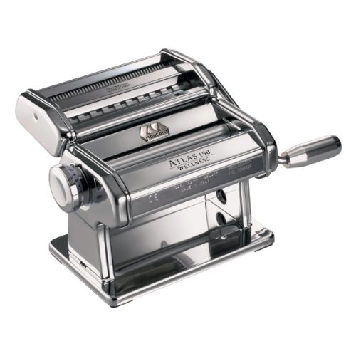 Marcato Atlas Pasta Machine, Silver, 150-Millimeters Wide, Includes Pasta Machine with Pasta Cutter, Hand Crank, and Instructions
