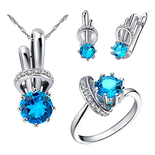 Uloveido Women Platinum Plated Created Round Blue Topaz Animal Jewelry Set December Birthstone Necklace Rabbit Clip On Earrings Solitaire Accent Ring Set (Blue, Size 7) T225