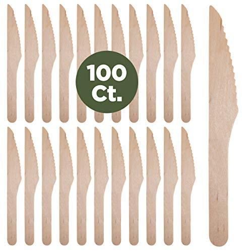 Prexware Biodegradabel Eco-friendly Go green Birchwood Disposable Wooden Knives set of 100