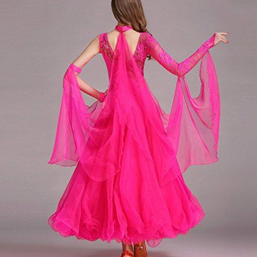 Xl Danza Dance Per Abiti s Di Tango Il Costume Lunghe Grande 5 Asimmetriche Ballroom Donna Maniche Moderna Valzer Pizzo Wqwlf Abbigliamento Swing w4FHqH