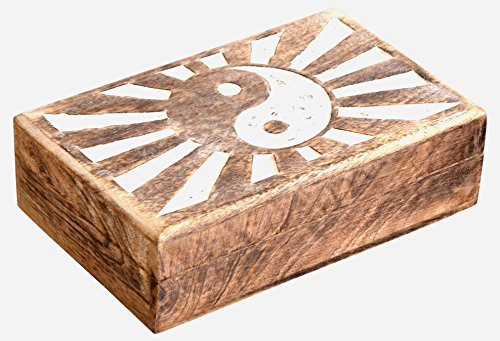 SAAGA Multipurpose Wooden Jewelry Trinket Holder Keepsake Box Ying Yang / Handmade : 8×5.5×2.5 inches (LxBxH)