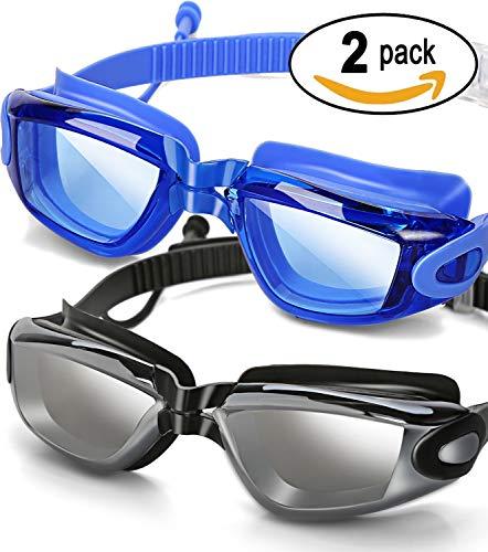 SBORTI Swim Goggles 2 Pack Swimming Goggles Adult Women Men Youth,No Leaking,Anti Fog,UV Protection Swim Glasses Water Goggles ((Sky Blue/Black) 2 Pack Goggles)