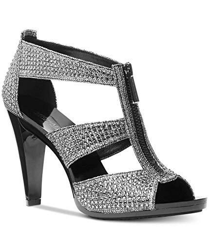 Michael Kors Women's Berkley T-Strap Glitter Chain, Black/Silver, Size 8.5