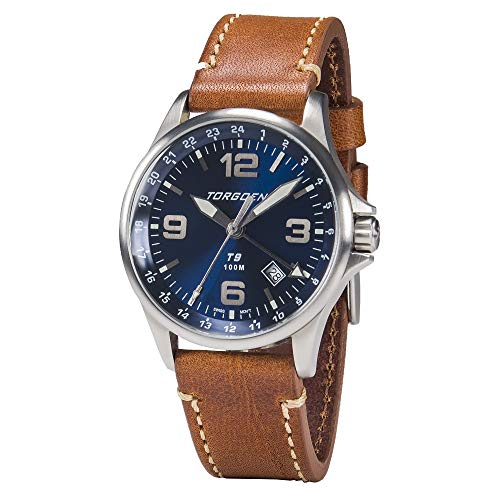Torgoen T9 Blue GMT Pilot Watch | 42mm – Brown Leather Strap