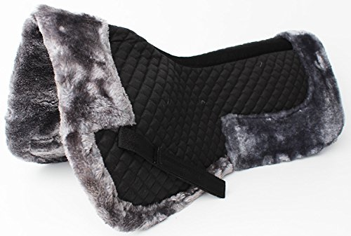 Wither Relief (Horse English Quilted SADDLE Half Pad Correction Wither Relief Fur Black 12218GR)