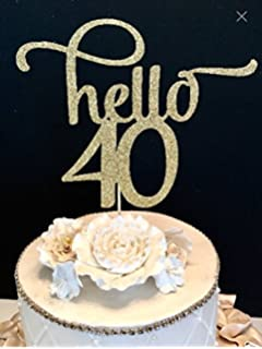 Amazoncom Hello 40 cake topper for 40th birthday party decorations