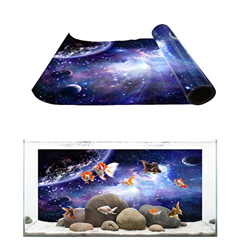 Fantasy Star Aquarium Background Mysterious and Dreamy Outer Space Fish Tank Wallpaper Easy to Apply and Remove PVC Sticker Pictures Poster Background Decoration 18.4
