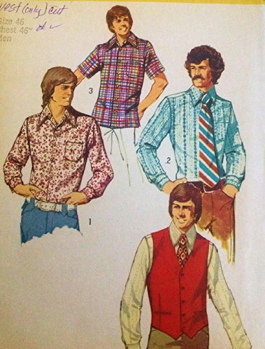 Button Welt Pockets (Simplicity 5047 Vintage Sewing Pattern for Mens Back Yoke Shirt with Collar Button Cuffs & Pocket with Welt Pocket Lined Vest)