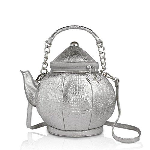 DARLING'S Teapot Fashion Design Handbag Shoulder Bag Silver