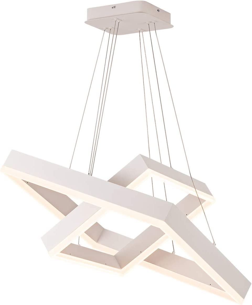 MADEM Modern Double-Layered Square LED Chandelier, Itself Non-dimmable Chandelier, Suitable for Kitchen Island Living Room Bedroom, Diameter 15 23 , Warm Light Effect 3000K