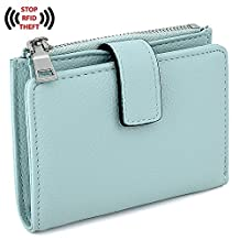 UTO Women's RFID Blocking PU Leather Wallet Card Holder Organizer Girls Small Cute Coin Purse with Snap Closure