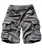 FOURSTEEDS Women's Cotton Butt Lift Multi-Pockets Camouflage Casual Twill Bermuda Cargo Shorts with Belt Dark Grey US 6