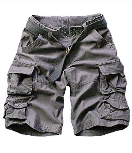(FOURSTEEDS Women's Cotton Butt Lift Multi-Pockets Camouflage Casual Twill Bermuda Cargo Shorts with Belt Dark Grey US 16)