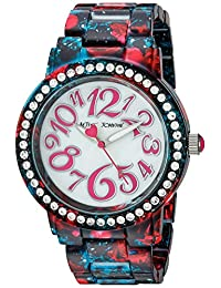 Betsey Johnson Women's BJ00482-10 Floral Printed Black Case and Bracelet Watch