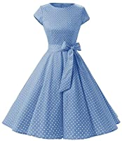 Womens 1950s Vintage Cap Sleeve Polka Dot Rockabilly Swing Dresses C70