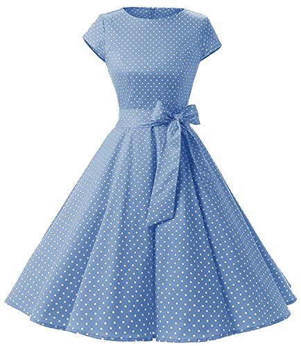 Womens 1950s Vintage Cap Sleeve Polka Dot Rockabilly Swing Dresses C70 (Blue, XS)