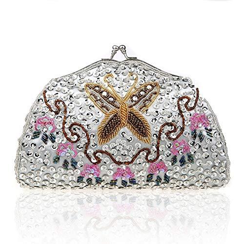 fériés E E 21x12cm Nouveau Jours Soirée Bridal Style Perles de Main Pochette Et d'autres Bal Femme soirée Exquis Sac à 8x5inch de Sacs soirée 16qY1Rg