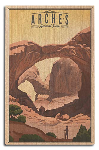 Lantern Press Arches National Park, Utah - Double Arch - Litho 97703 (10x15 Wood Wall Sign, Wall Decor Ready to Hang)