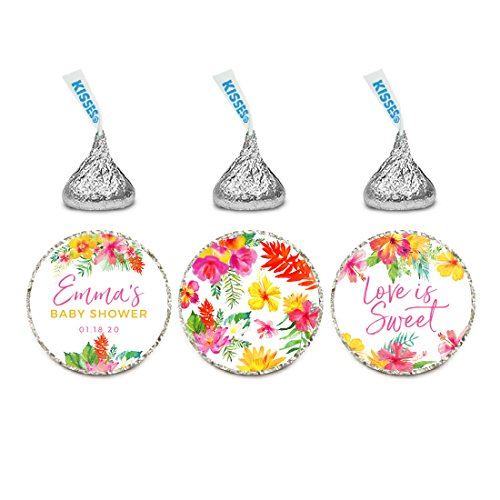 Andaz Press Tropical Floral Garden Party Wedding Collection, Personalized Chocolate Drop Label Stickers Trio, 216-Pack, Custom Name, Fits Hershey's Kisses Party (Garden Personalized Chocolate)