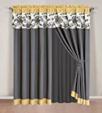 Cheap 4 Piece Modern Yellow / Black / White / Grey Floral Curtain set with attached Valance and Sheers