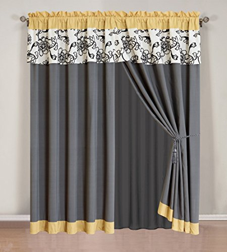 4 Piece Modern Yellow / Black / White / Grey Floral Curtain set with attached Valance and Sheers
