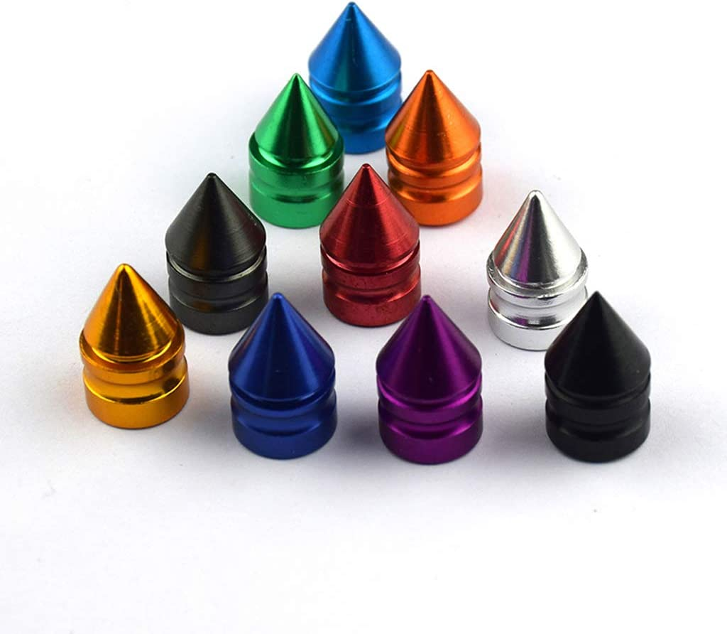 Orange Tire Stem Valve Caps Cover Spike Style Set of 4pcs Aluminum Universal fit for All Cars and Bike