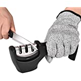 Accdata Knife Sharpener with 3-Stage Knife Sharpening Tools to Repair, Restore and Polish Blades (A Level 5 Cut-resistance Glove Included)
