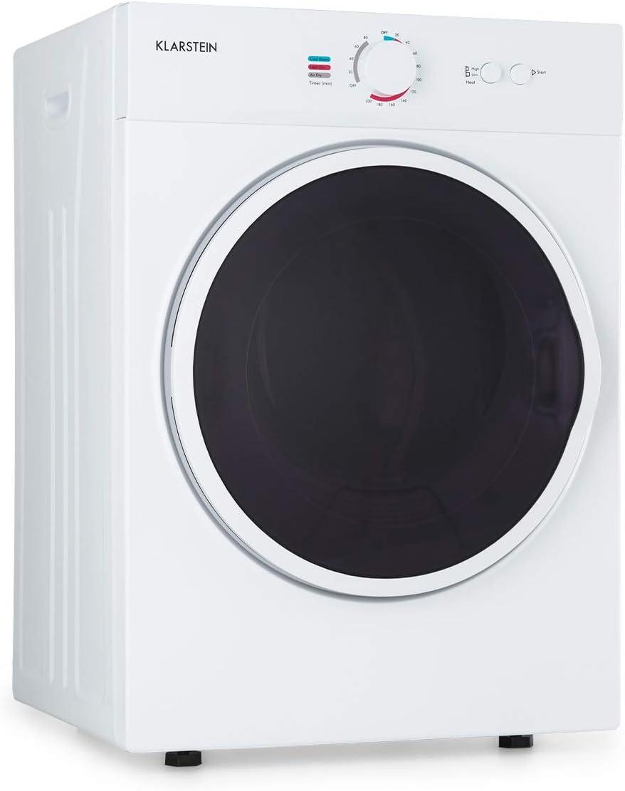 Klarstein Jet Set secadora de ropa - secadora por salida de aire, 1020 W, aislada, clase C, 3 kg, secado por extracción, selección del calor, programable, 49 x 69 x 47,5 cm, tambor de acero, blanco