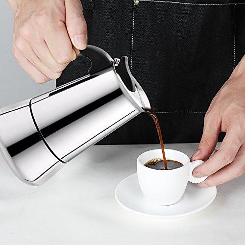 Tritrusten Stovetop Espresso Pot Stainless Steel Espresso Coffee Maker (6 cup)