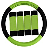 FH GROUP FH2033 Modernistic Steering Wheel Cover and Seat Belt Pads Green Color-Fit Most Car, Truck, Suv, or Van