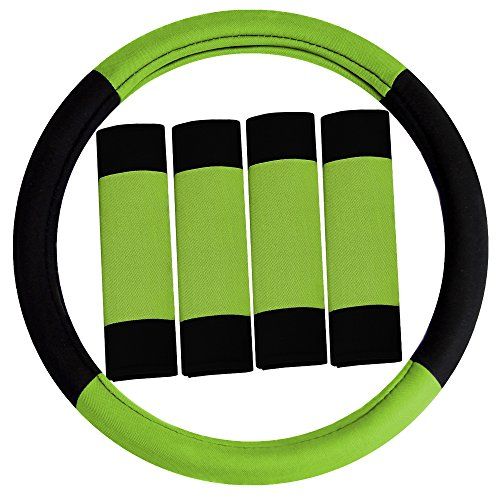 FH Group FH2033GREEN-AVC Black Steering Wheel Cover (Modernistic and Seat Belt Pads Combo Set Green)