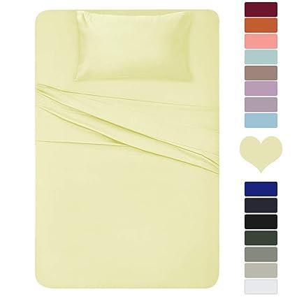 Amazon.com: HOMEIDEAS 3 Piece Bed Sheet Set (Twin XL, Pale Yellow