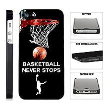 [TeleSkins] - Basketball Never Stops - iPhone 4 / 4S Black Plastic Case - Ultra Durable Slim & HARD PLASTIC Protective Vibrant Snap On Designer Back Case / Cover for Girls. [Fits iPhone 4 / 4S]