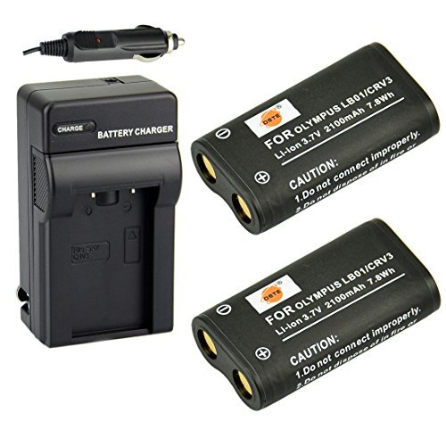 (DSTE Replacement for 2X CR-V3 Battery + DC78 Travel and Car Charger Adapter Compatible Olympus C3000 40Z C-2100UZ C-211 C-211Z C-3030 C-3030Z C-4000 C-5050Z D510 Camera as LB01 CRV3 LB-01)