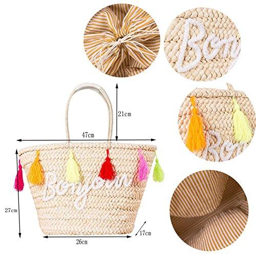Husk Woven Tassel Shoulder Straw Beach Pt1 Beach Balls Abuyall Embroidery Bag Summer Corn Pompoms Handbag Large Bag AFBInxqX