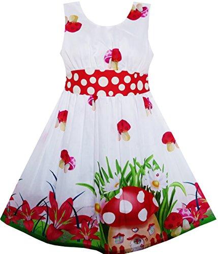 HS32 Girls Dress Mushroom Flower Grass Print Polka Dot Belt Red Size 5 ()