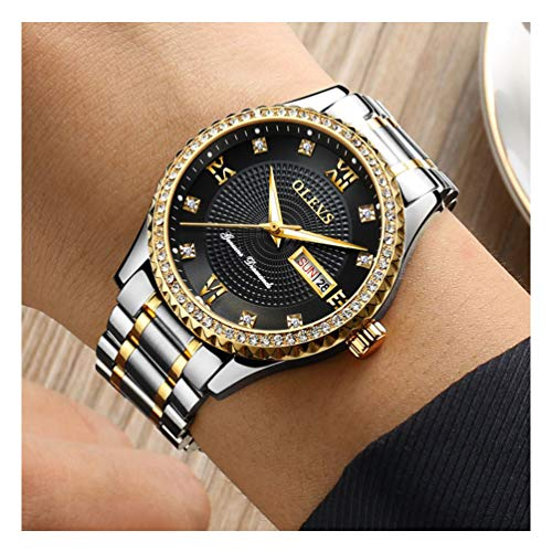 OLEVS Luxury Watches for Men Business with Diamond Crystal Gentleman Wristwatches, Classic Gold/Black/Blue/White Tone Faced Tungsten Steel Strap Father's Day Gifts for Grown Men, Luminous Calendar