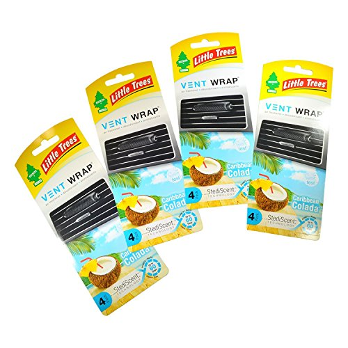 (Little Trees Vent Wrap Air Freshener 4-Packs Car Freshner Air Freshener (Caribbean Colada))