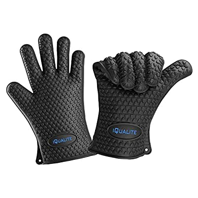 Silicone Oven Mitts - IQUALITE BBQ Grill Heat Resistant Kitchen Oven Glove Potholder - 1 Pair