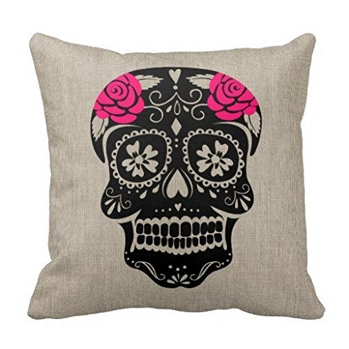 Home Decorative Pillow Cover Personalized Hipster Sugar Skull Throw Pillow Case Square Polyester Pillowcase