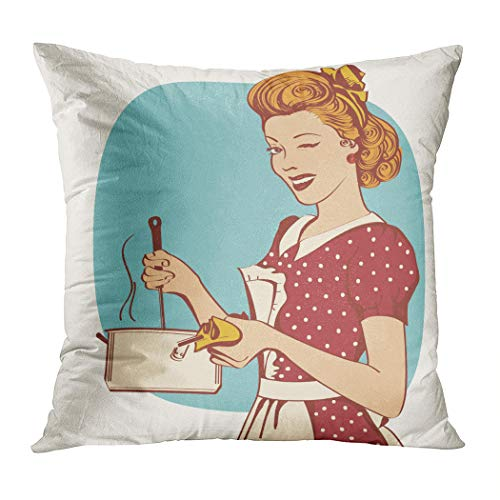 Meofo Throw Pillow Cover Retro Young Woman Retro Cooking Decorative Polyester Soft Pillowcase for Sofa Office Cushion Bedroom Car Square 18 x 18 Inch -