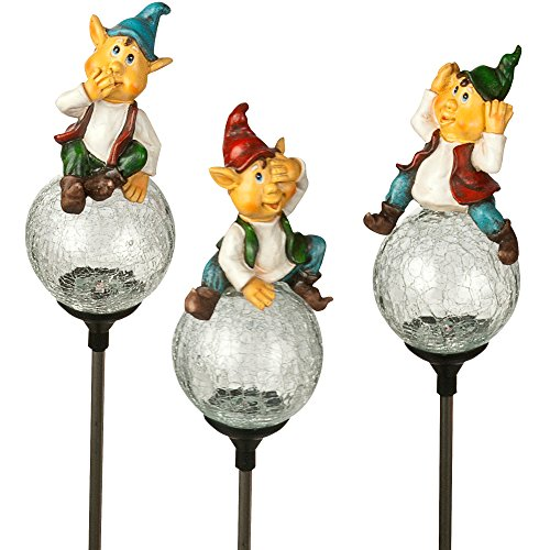 (3 Pack) Paradise Solar Crackle Glass Gnome Stake LED Light, Color - 3 Gnome