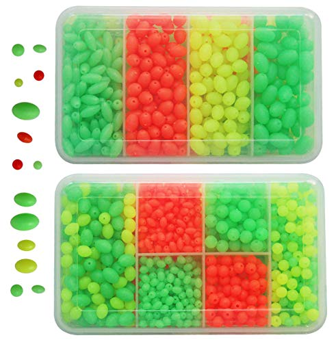 (JSHANMEI Fishing Bead 1000Pcs/box Soft Plastic Luminous Oval Shaped Beads Round Beads Fishing Lures Fishing Bead Fishing Tackle Tools Eggs for Rig)