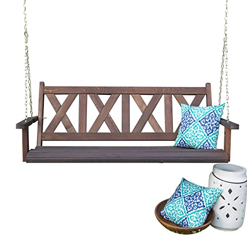 Porchgate Amish Made Haven 5ft. Porch Swing Cross Back Porch Swing