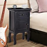 Black Nightstand For Bedroom w/Storage Drawer and Cabinet, Wood End Accent Table