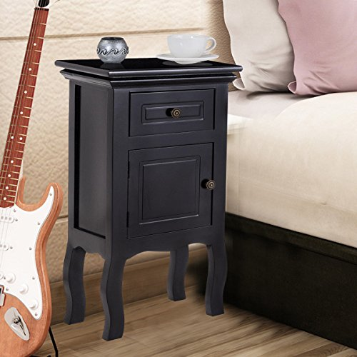 Black Nightstand For Bedroom w/Storage Drawer and Cabinet, Wood End Accent Table by unbrand (Image #8)